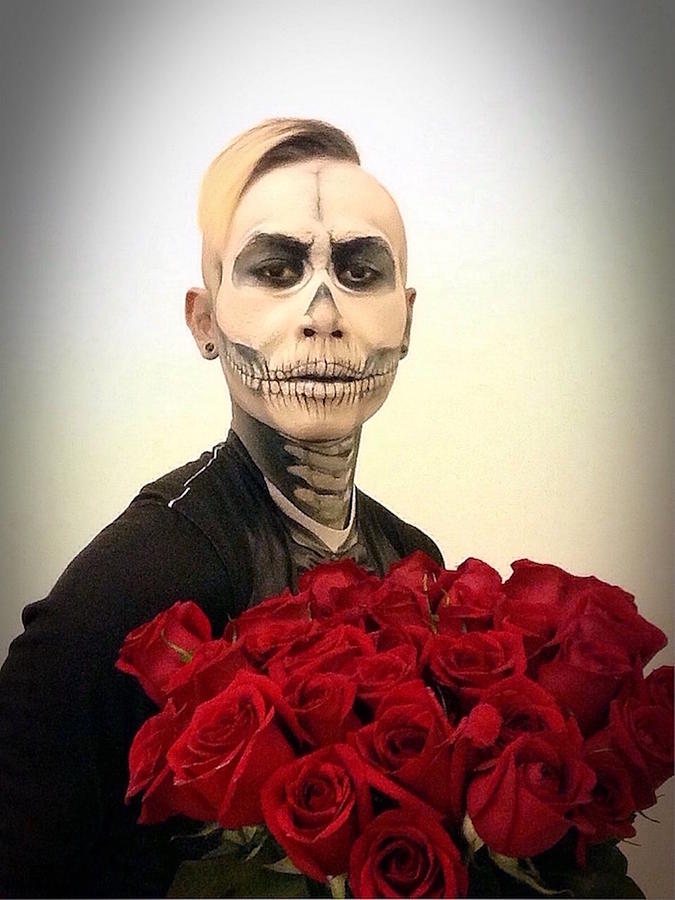Photographing Photograph - Skull Tux And Roses by Kent Chua
