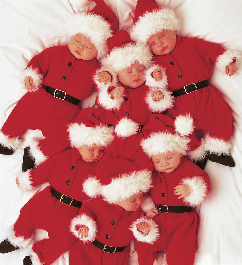 Holiday Photograph - Sleepy Santas by Anne Geddes
