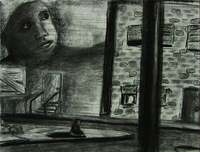 Charcoal Drawing - Slums by Benjamin Proulx