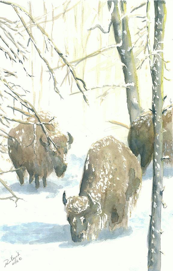 Snow Buffs Painting by Dan Bozich