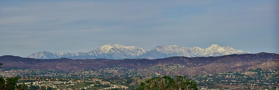 Snow Photograph - Snow Capped San Gabriel Mountains Panorama 1 by Linda Brody