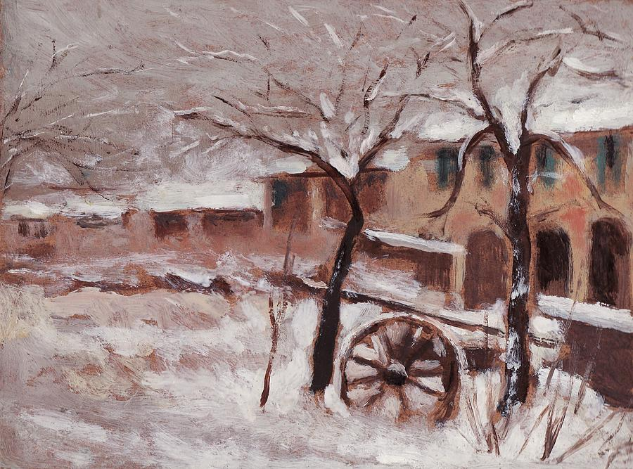 Snow Painting - Snow On The Farmhouse by Mario Zampedroni