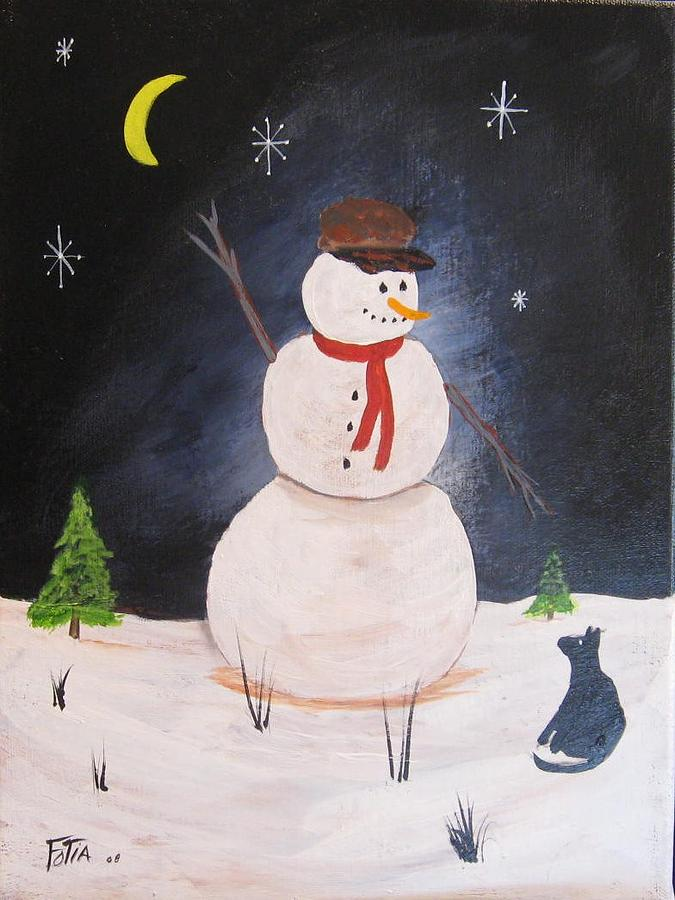 Snowmen Painting - Snowman And Cat by Rich Fotia