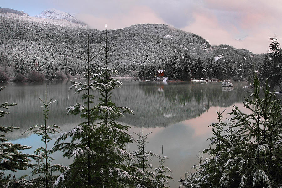Green Lake Photograph - Snowy Green Lake Sunset Whistler B.c Canada by Pierre Leclerc Photography
