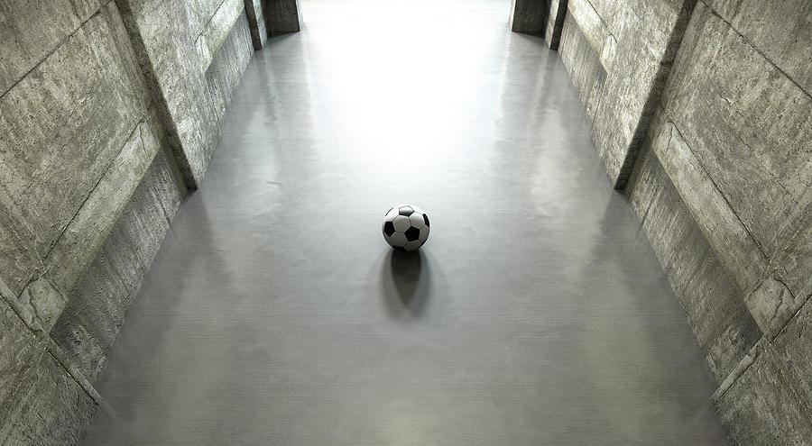 Soccer Digital Art - Soccer Ball Sports Stadium Tunnel by Allan Swart