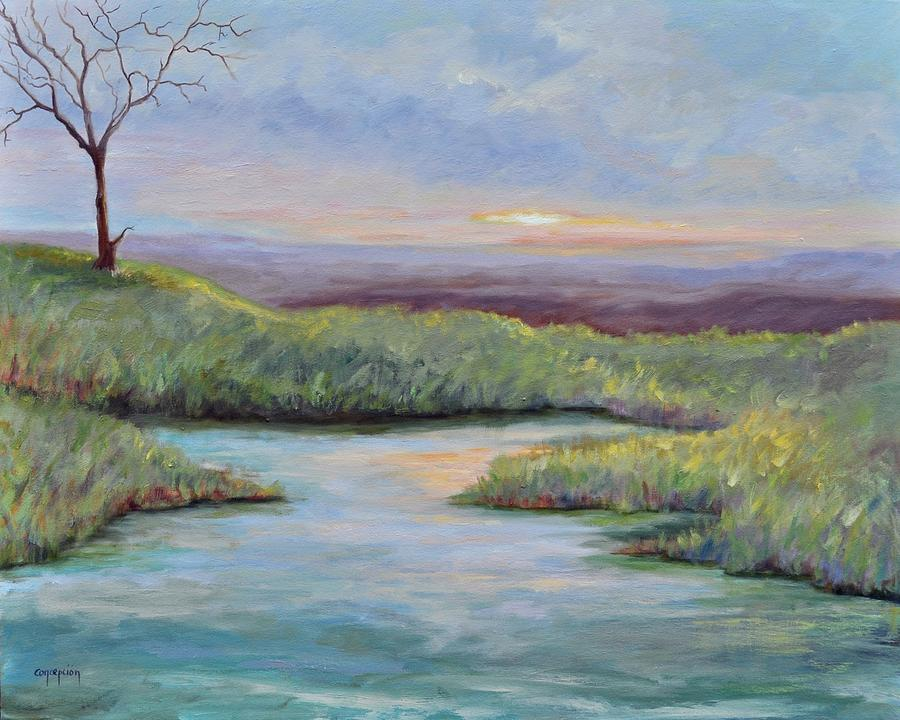 Lone Tree Painting - Soledad by Ginger Concepcion
