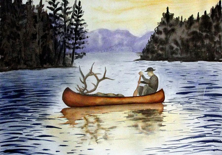 Canoe Painting - Solitude by Jimmy Smith