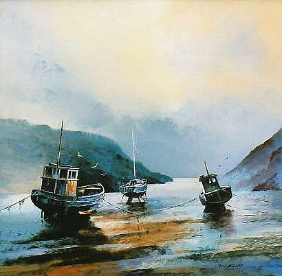 Boats Painting - Solva Harbour West Wales by Mark Whittaker