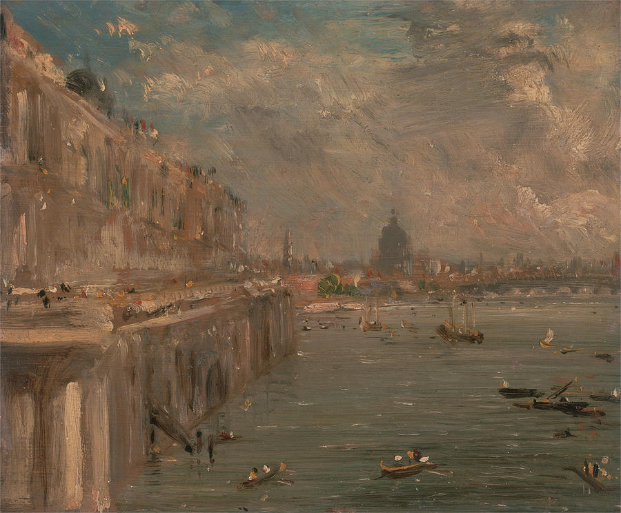 John Constable Painting - Somerset House Terrace From Waterloo Bridge by MotionAge Designs