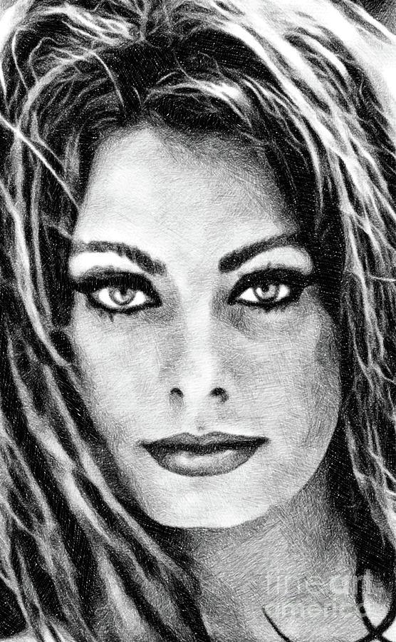 Sophia Loren, Vintage Actress By Js Drawing