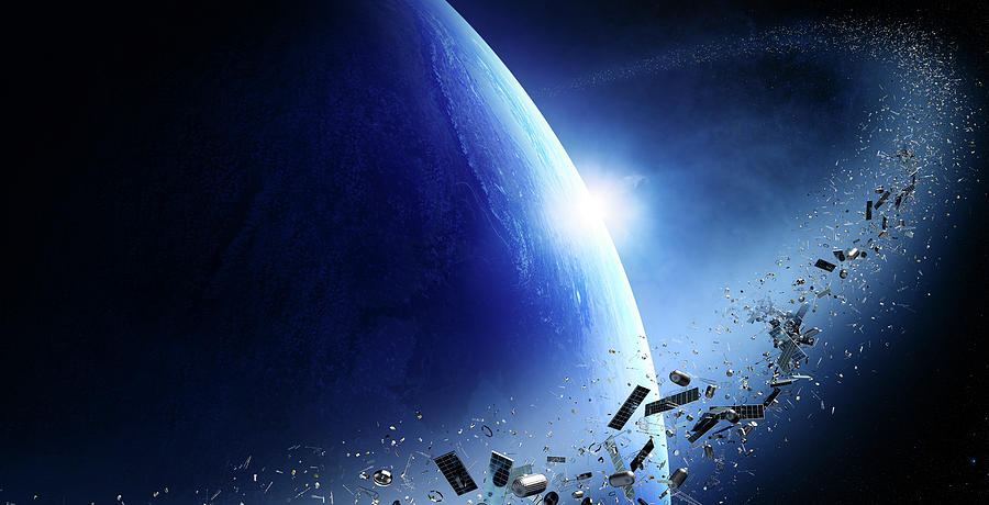 Earth Photograph - Space Junk Orbiting Earth by Johan Swanepoel