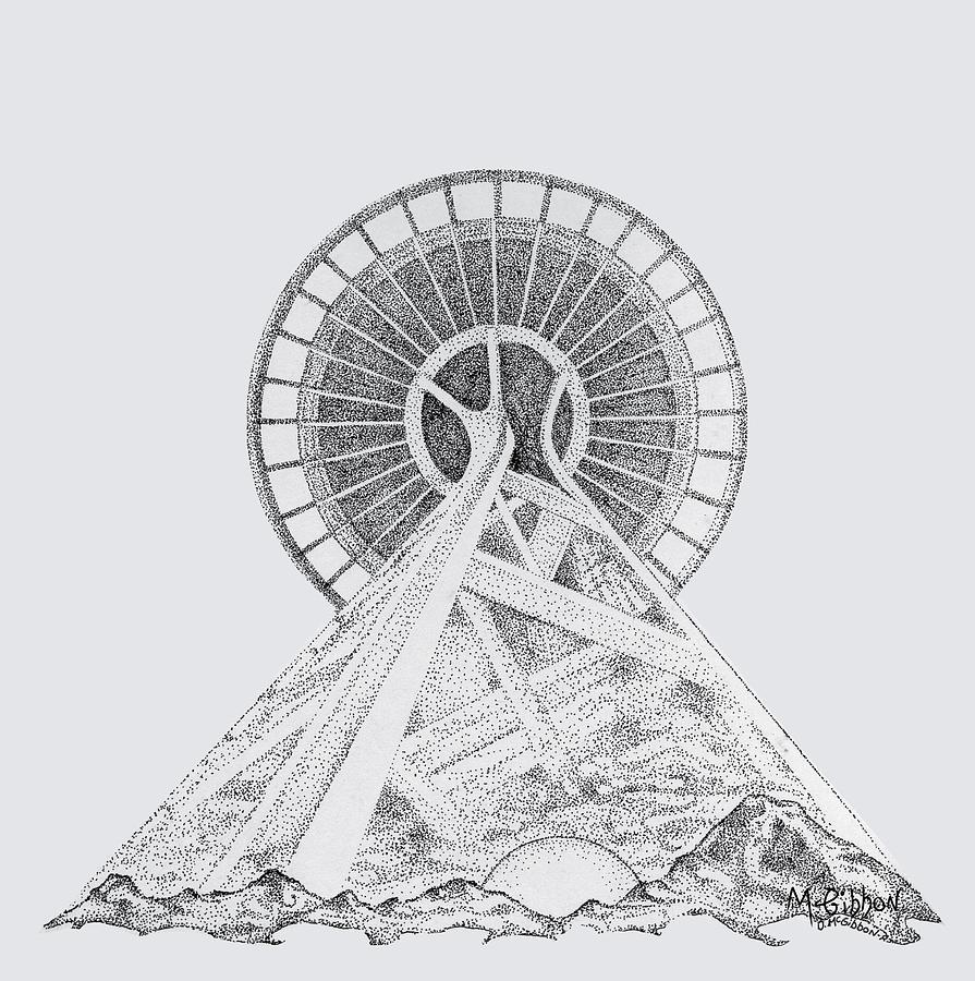Seattle Digital Art - Space Needle- Looking Up by Dan McGibbon