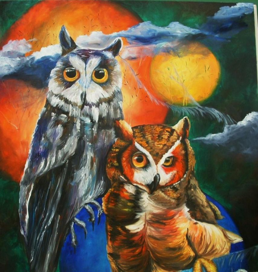 Owl Painting - Space Owls by Andrea  Darlington