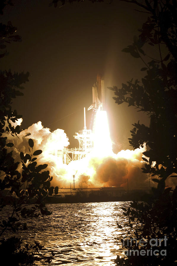 Launch Pad Photograph - Space Shuttle Endeavour Liftoff by Stocktrek Images
