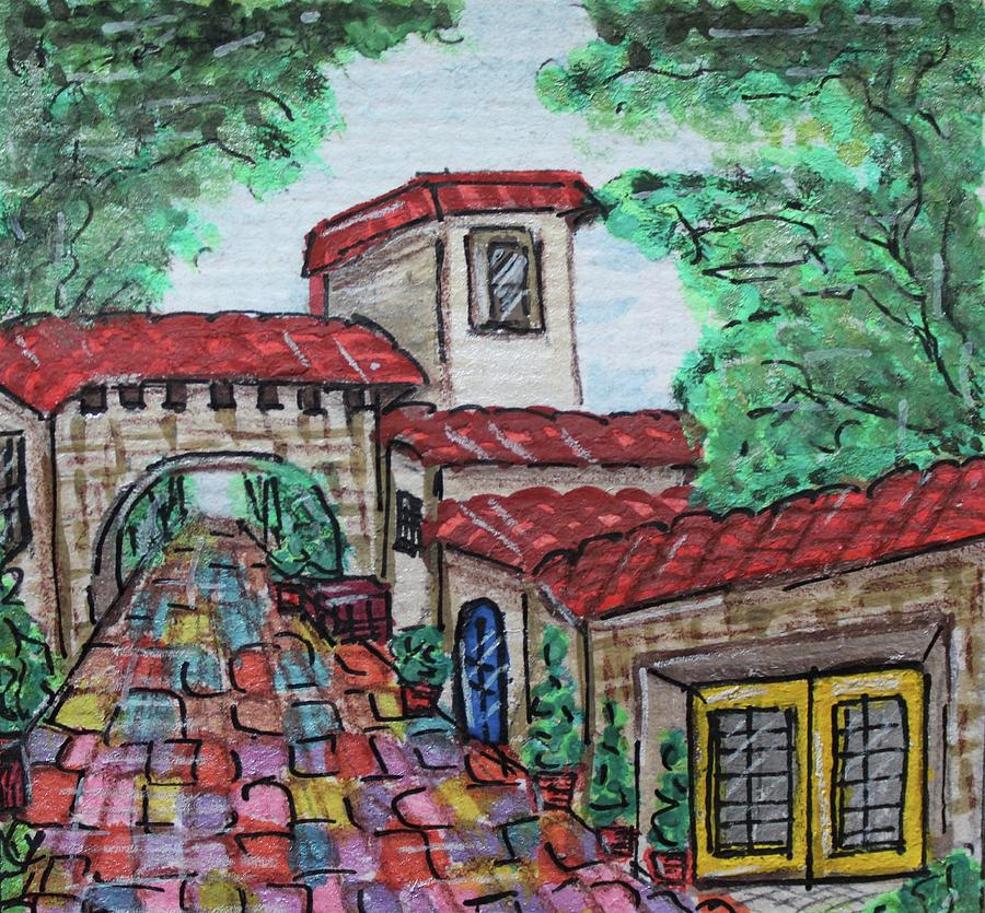 Watercolor Painting - Spanish Village by Art By Naturallic