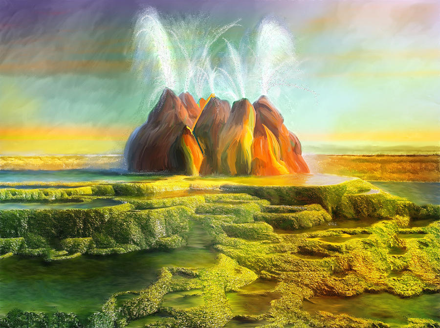 Spitting-fly Geyser In Nevada Painting