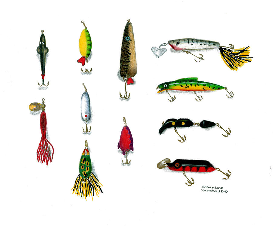 Sport Fishing Drawing - Sport Fishing Spinners Spoons And Plugs by Sharon Blanchard