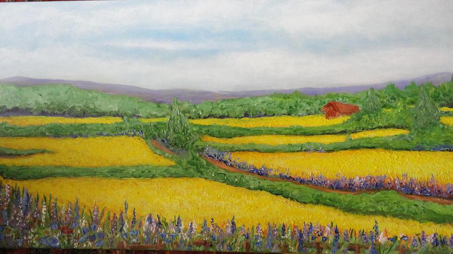 Cornfields Painting - Spring by Deborah Palmer