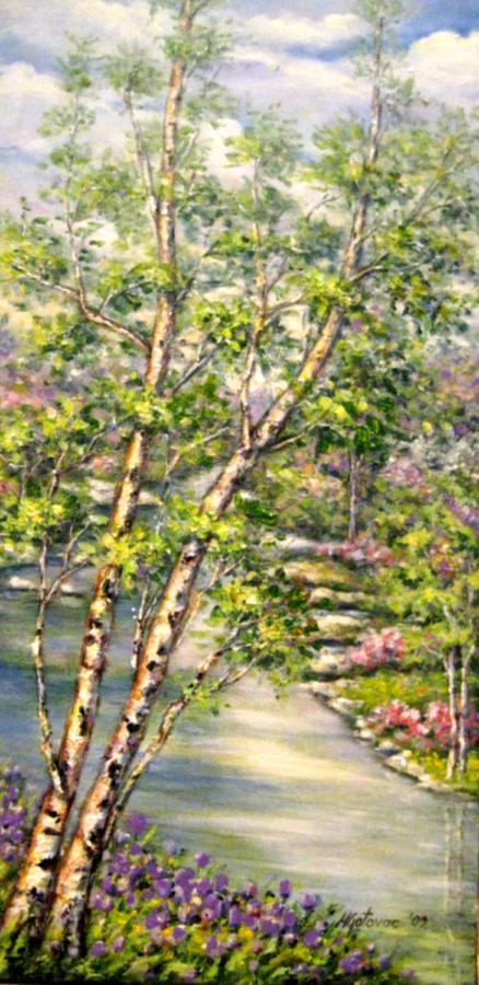 Landscape Painting - Spring by Mirjana Gotovac
