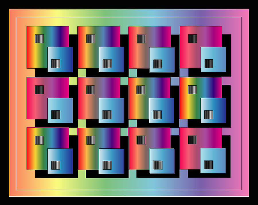 Abstract Digital Art - Squares by George Pasini