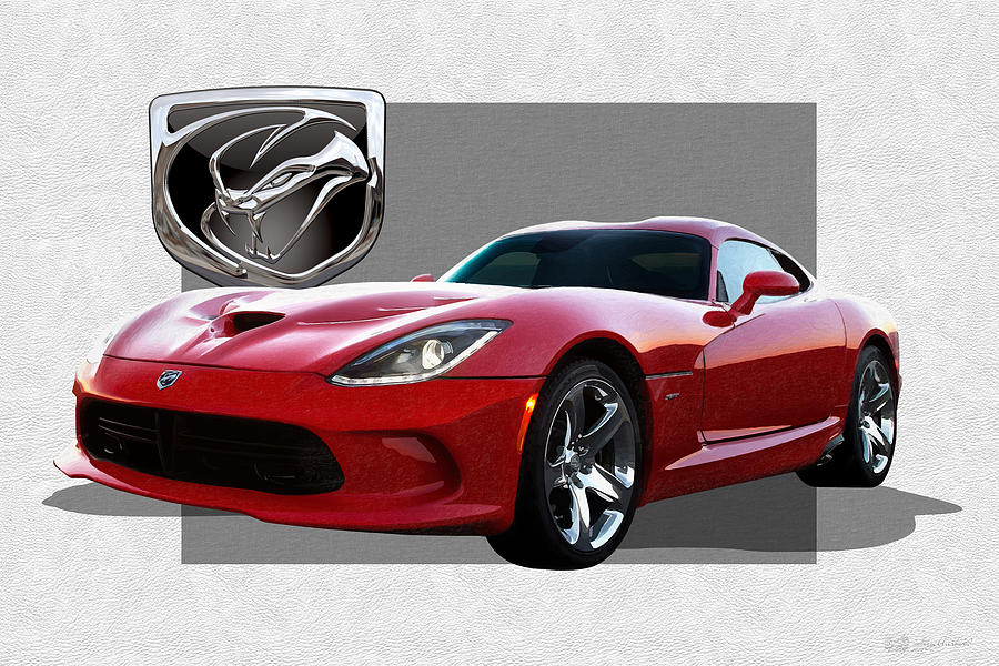 Car Photograph - S R T  Viper with  3 D  Badge  by Serge Averbukh