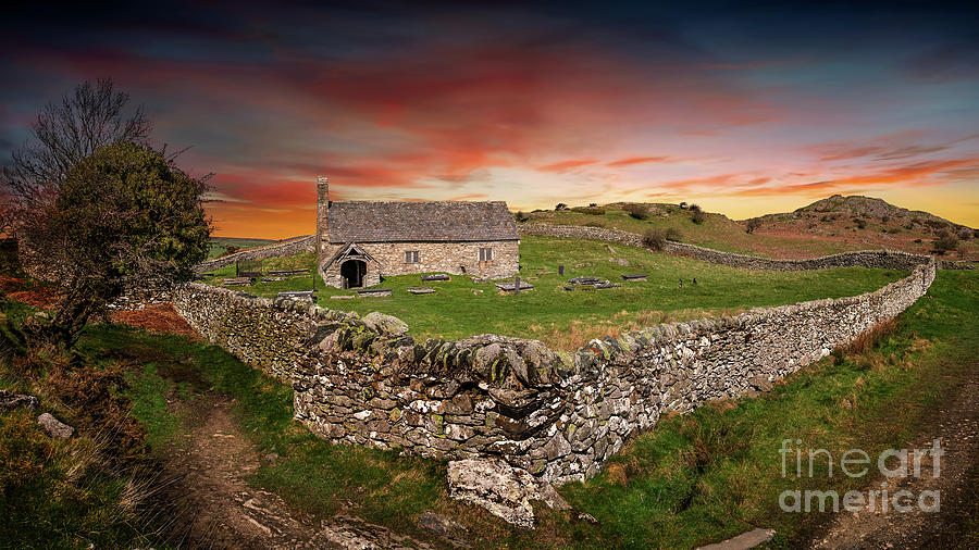 Sunset Photograph - St Celynnin Church Sunset by Adrian Evans