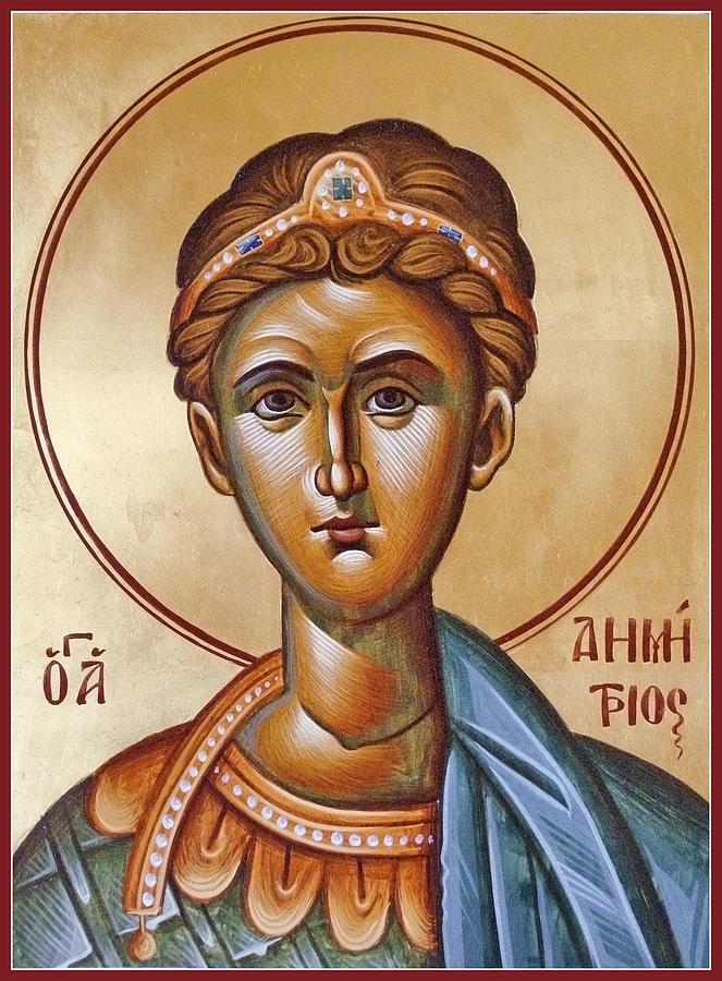 Icon Painting - St Demetrios The Great Martyr And Myrrhstreamer by Julia Bridget Hayes
