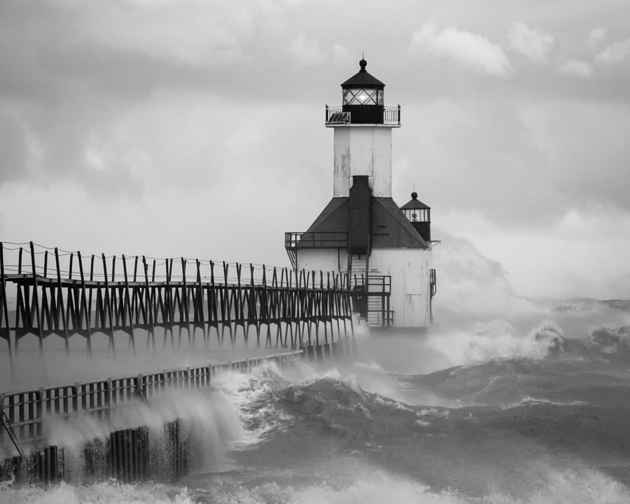 Lighthouse Photograph - St. Joseph North Pier Lighthouse by Kimberly Kotzian