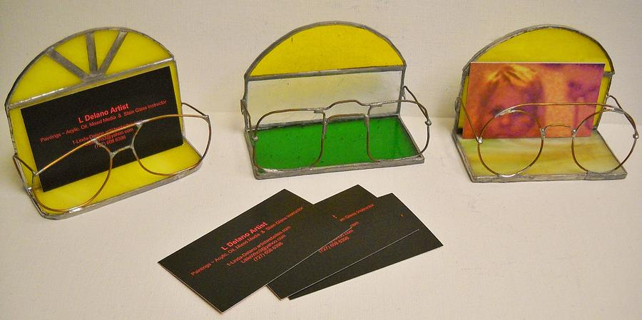 Stain Glass Eyeglasses Business Card Holder Glass Art By Leah Delano