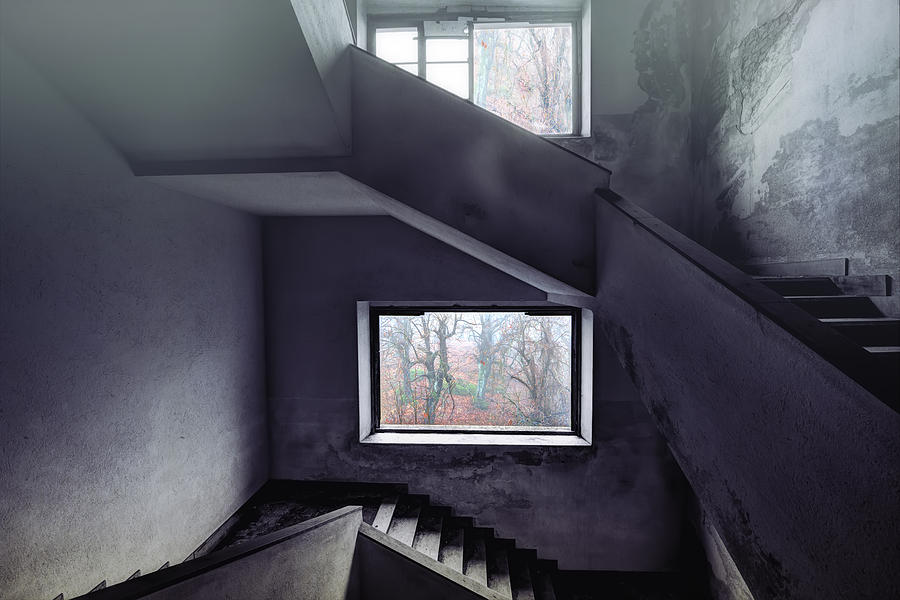 Abandoned Places Photograph - Stairs And Windows by Enrico Pelos