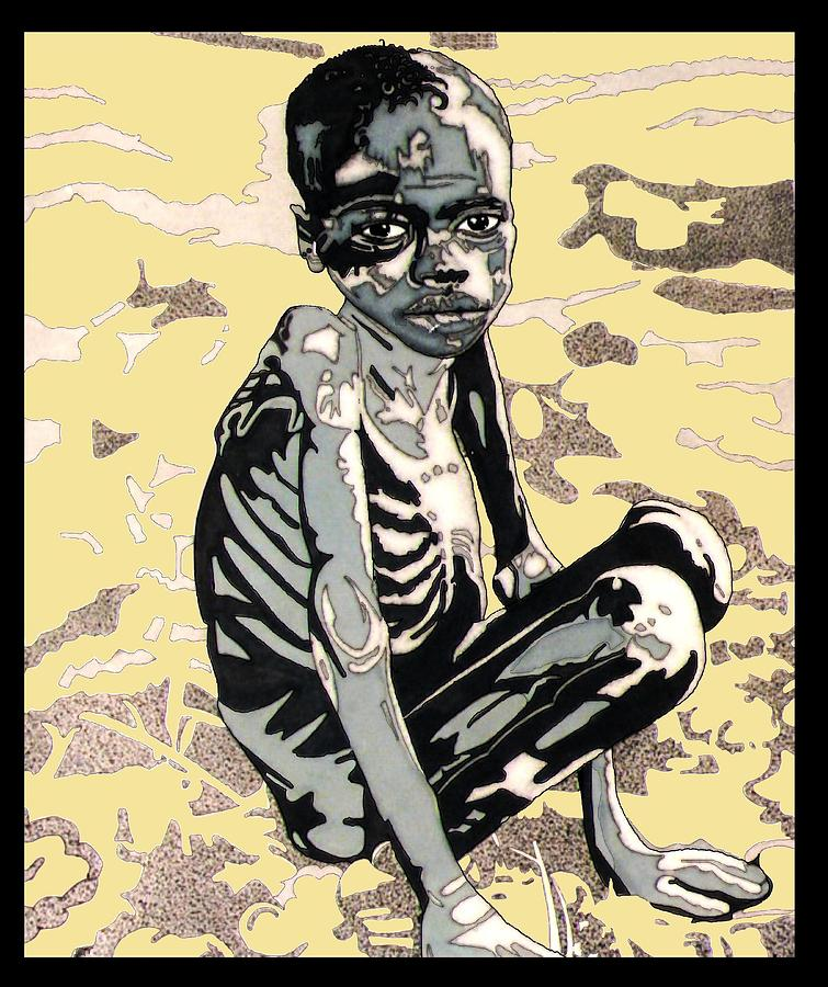 Hunger Drawing - Starving African Boy by Gabe Art Inc