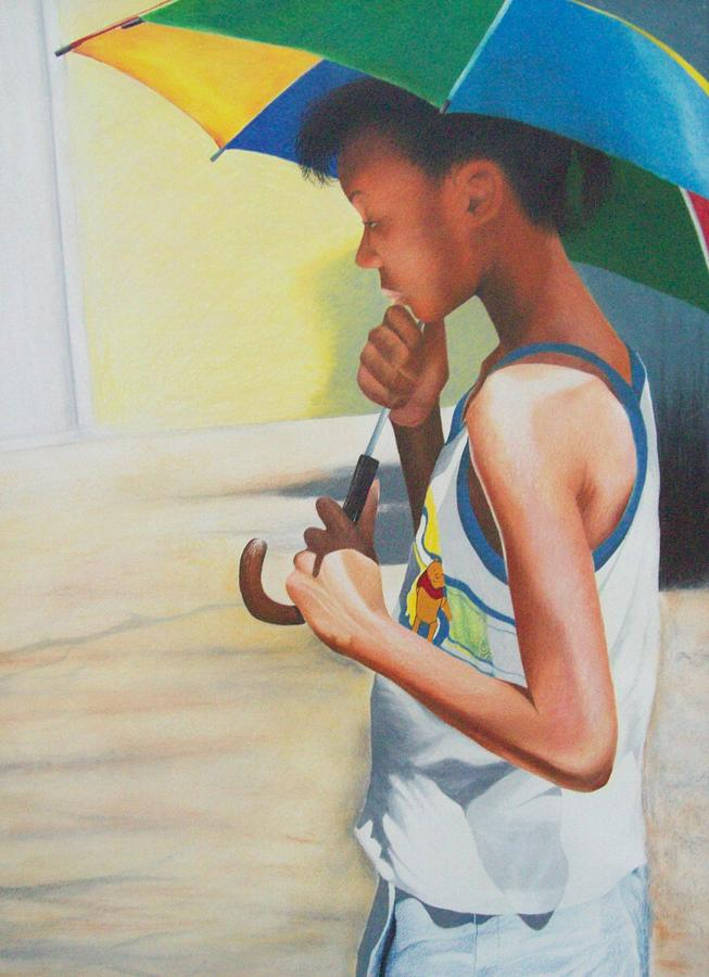 Figurative Drawing - Stephanie With Umbrella by Sylvester Hickmon