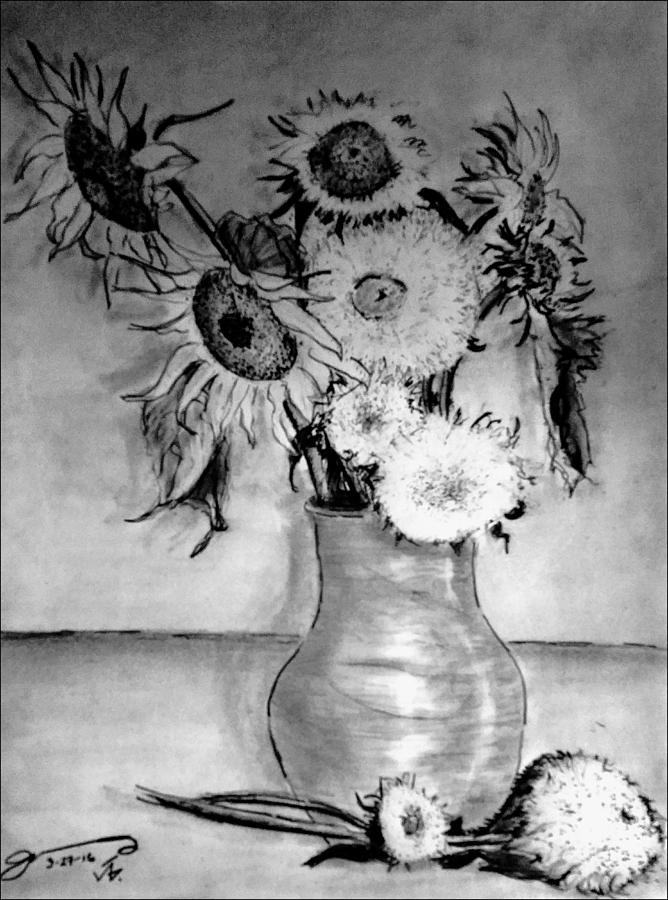 Still Life Vase With 10 Sunflowers Drawing By Jose A Gonzalez Jr