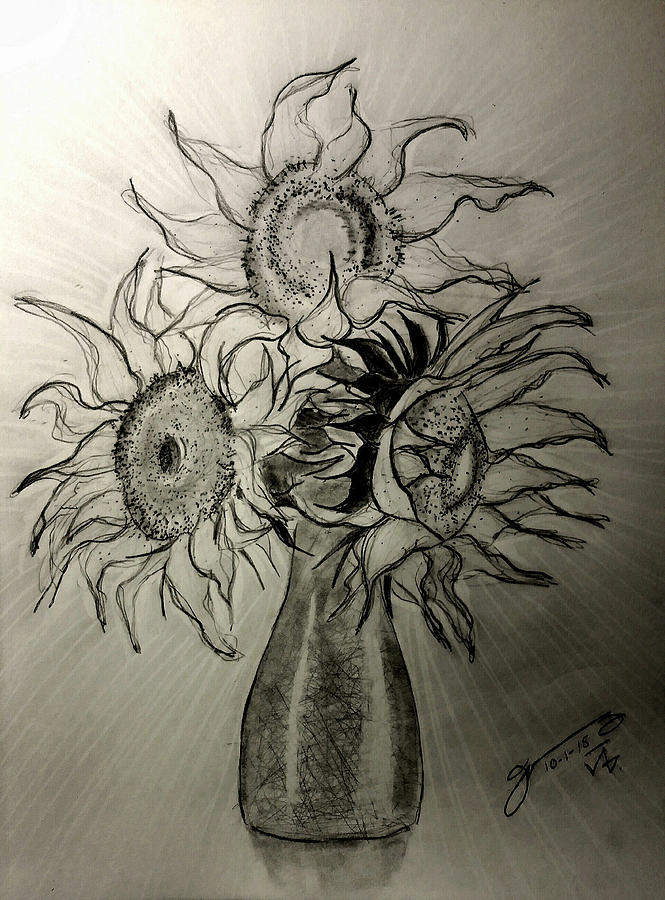 Still Life - Vase With 3 Sunflowers Drawing
