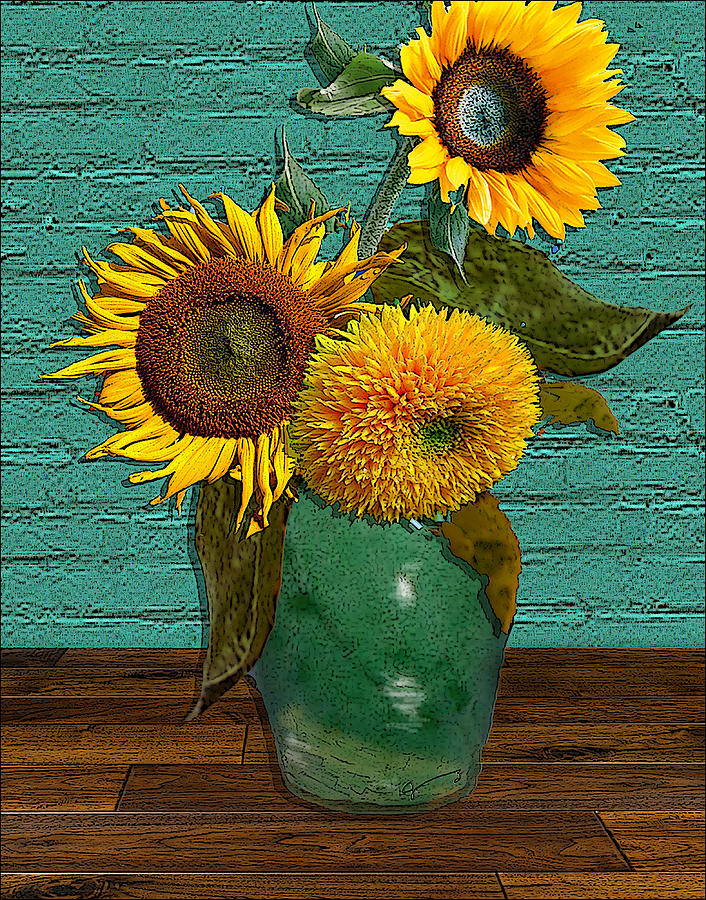Still Life - Vase With Three Sunflowers Drawing