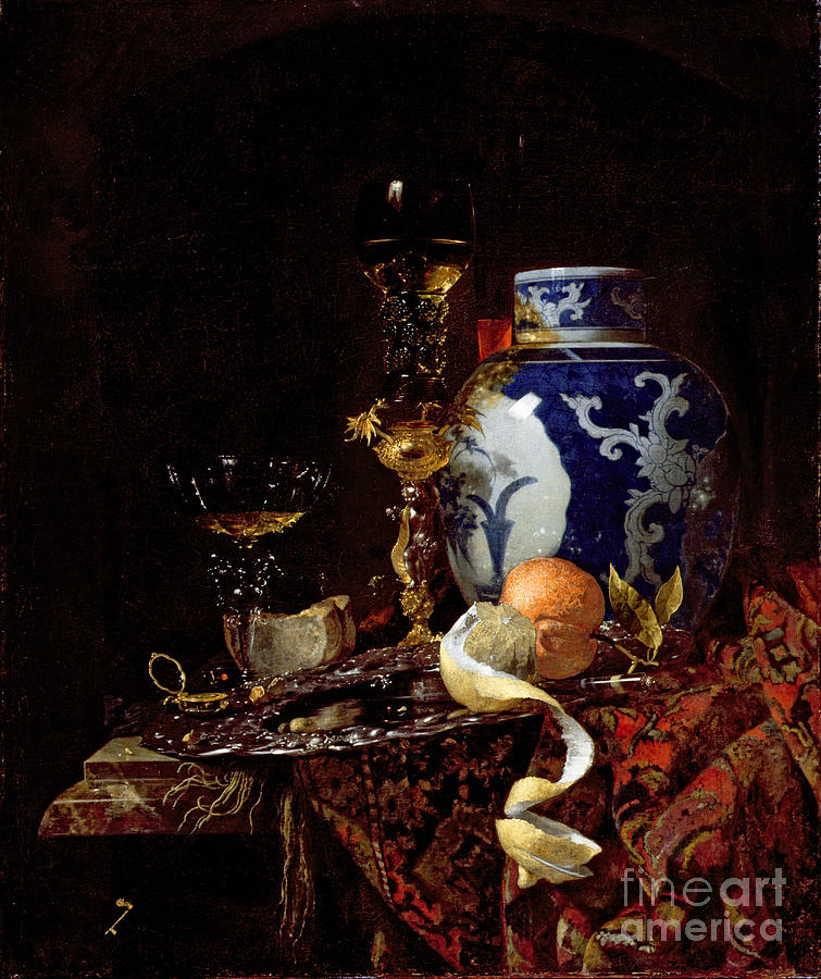 Orange Painting - Still Life With A Chinese Porcelain Jar by Willem Kalf