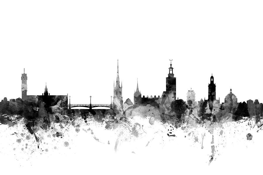 Sweden Digital Art - Stockholm Sweden Skyline by Michael Tompsett
