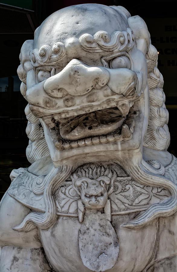 Lion Statue Photograph - Stone Lion Chinatown Nyc by Robert Ullmann