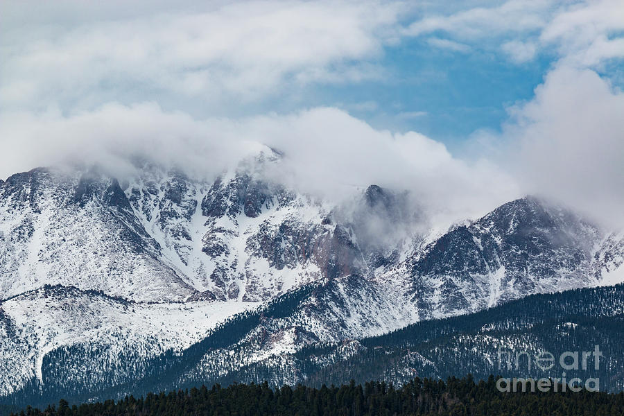Pikes Peak Photograph - Storm Clouds Building on Pikes Peak by Steven Krull