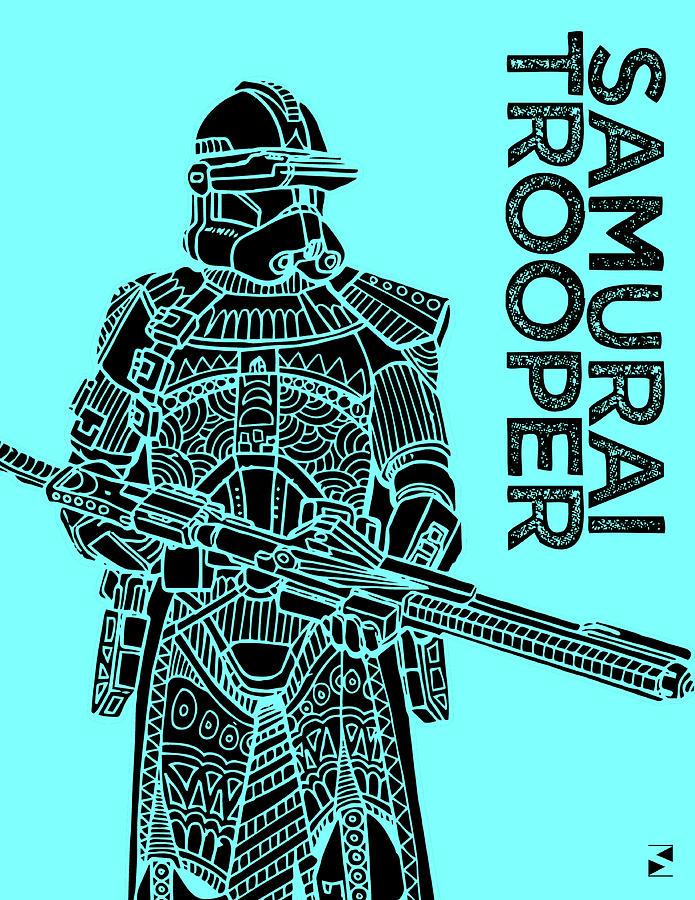 Stormtrooper - Star Wars Art - Blue Mixed Media