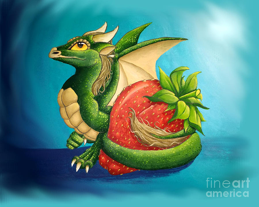 Dragon Painting - Strawberry Dragon by Mary Hoy
