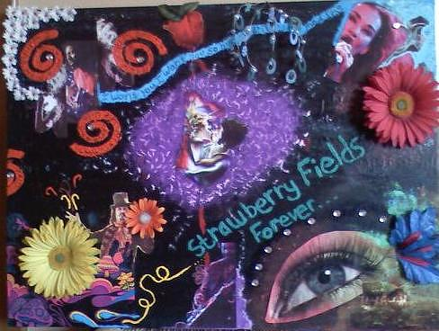 Abstract Mixed Media - Strawberryfields by Amber Reaves