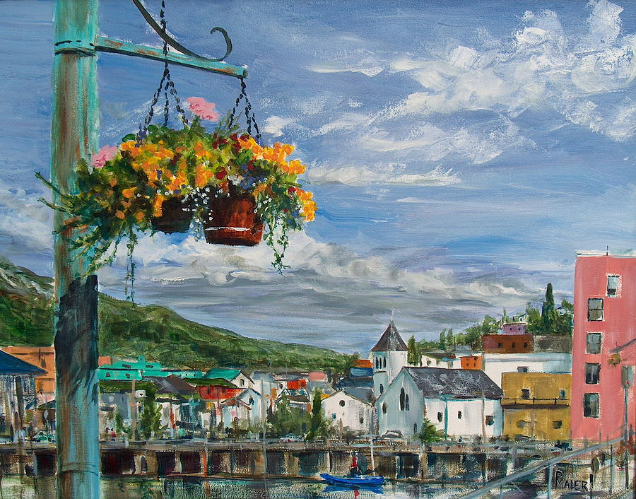 Flowers Painting - Street Flowers by Pete Maier