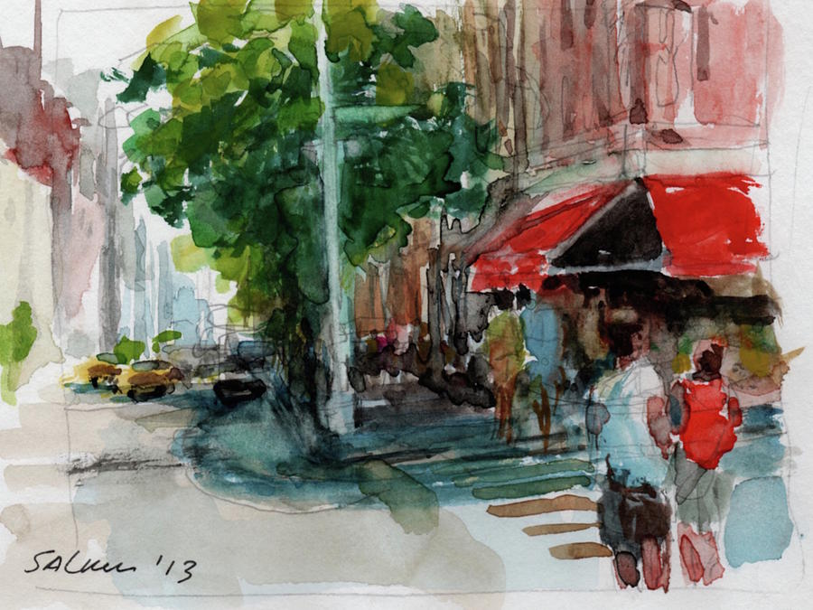 New York Landscape Painting - Streetscape With Red Awning - 82nd Street Market by Peter Salwen