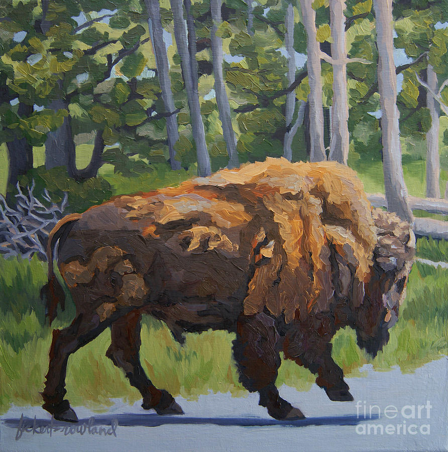 Landscape Painting - Strutting Along, Yellowstone by Erin Fickert-Rowland