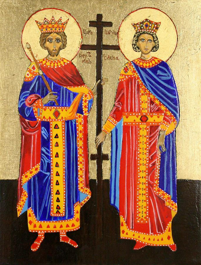 Orthodox Icons Painting - Sts. Constantine And Helen by Amy Reisland-Speer