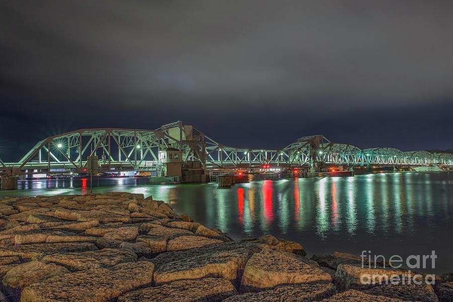 Sturgeon Bay Photograph - Sturgeon Bay Steel Bridge at Night by Nikki Vig