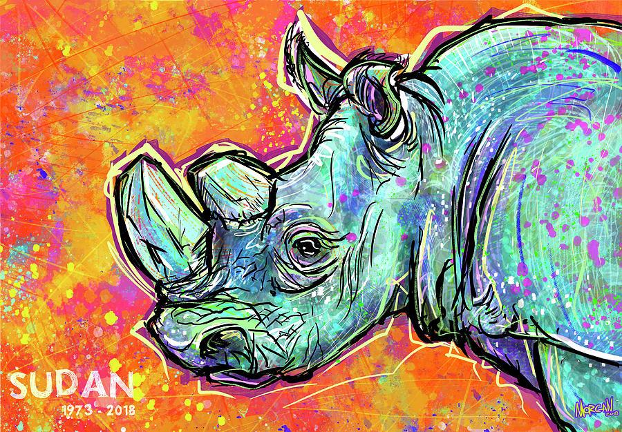 Rhino Digital Art - Sudan by Morgan Richardson