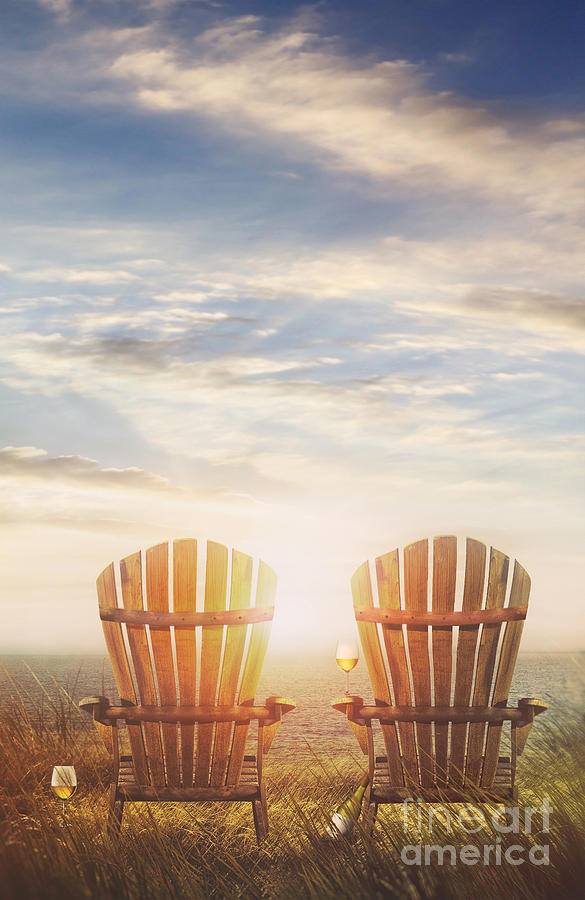 Atmosphere Photograph - Summer Chairs Sand Dunes And Ocean In Background by Sandra Cunningham