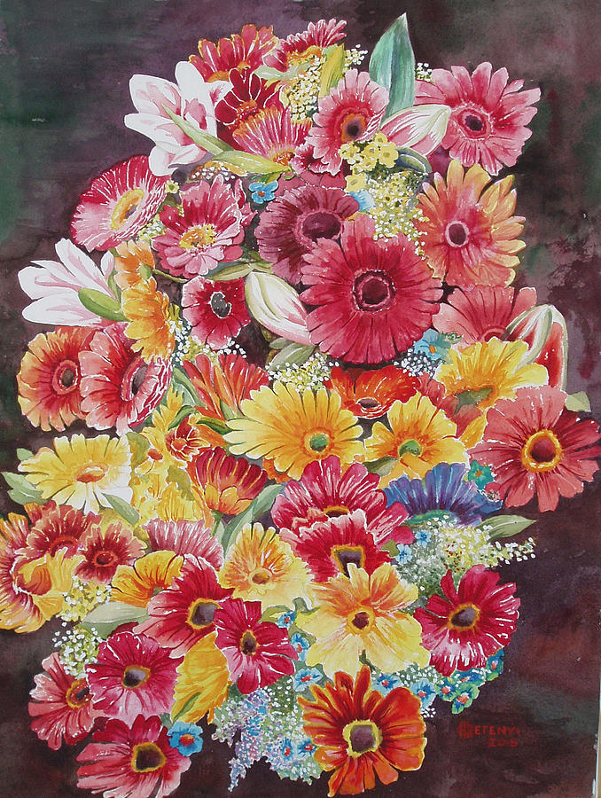 Gerbera Painting - Summer Colors  by Charles Hetenyi